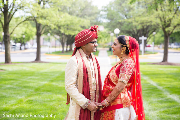 First look portraits in Herndon, VA, Indian Wedding by Sachi Anand Photography