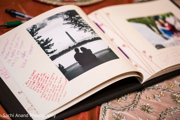 Wedding guest book in Herndon, VA, Indian Wedding by Sachi Anand Photography