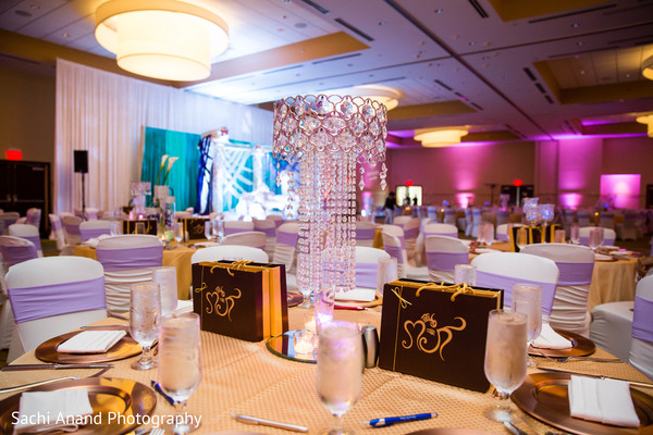 Crystal centerpiece in Herndon, VA, Indian Wedding by Sachi Anand Photography