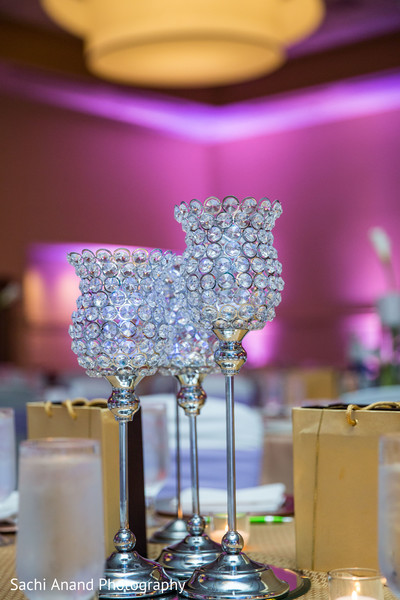 Crystal centerpieces in Herndon, VA, Indian Wedding by Sachi Anand Photography