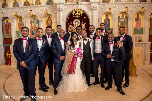 Bride and Groom with Groomsmen in Austin, Texas Indian Fusion Wedding by Tiffany Hofeldt Photography