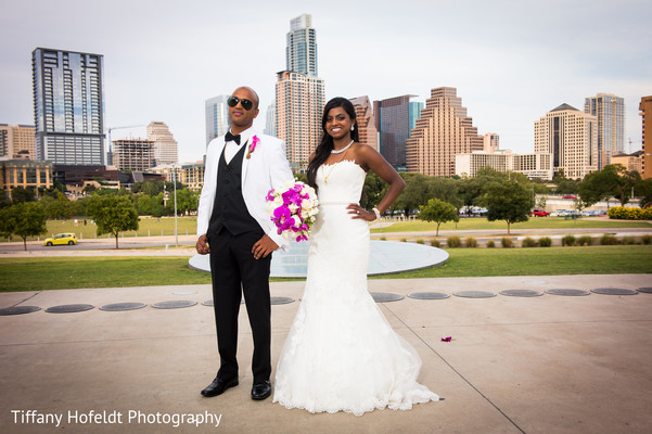 Bride and Groom Portrait in Austin, Texas Indian Fusion Wedding by Tiffany Hofeldt Photography