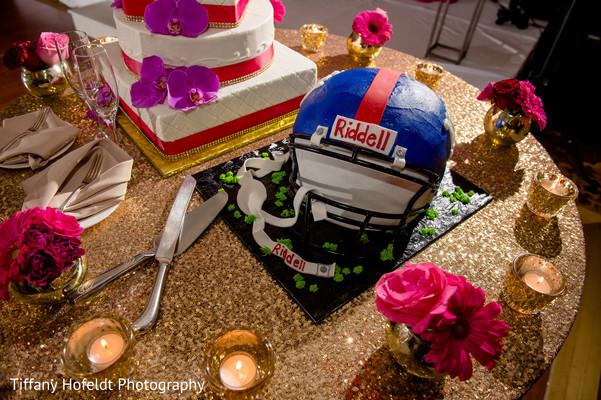 NFL Themed Cake in Austin, Texas Indian Fusion Wedding by Tiffany Hofeldt Photography