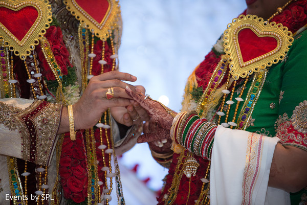 Indian wedding couple putting their wedding rings in Atlanta, GA Fusion by Events by SPL