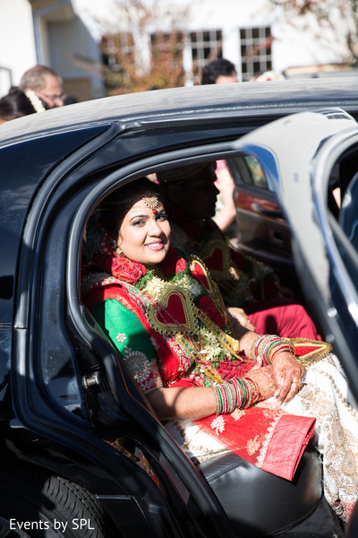 Indian bride ready to leave after their beautiful indian wedding ceremony in Atlanta, GA Fusion by Events by SPL