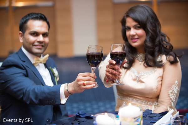 Let's toast with this beautiful indian couple in Atlanta, GA Fusion by Events by SPL