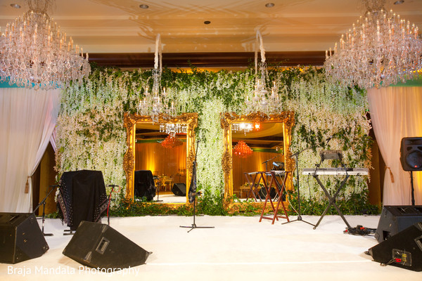 Band floral stage in Westlake Village, CA Indian Wedding by Braja Mandala Photography