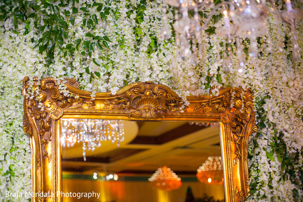Mirror floral wall in Westlake Village, CA Indian Wedding by Braja Mandala Photography