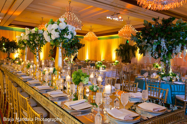 Centerpieces in Westlake Village, CA Indian Wedding by Braja Mandala Photography