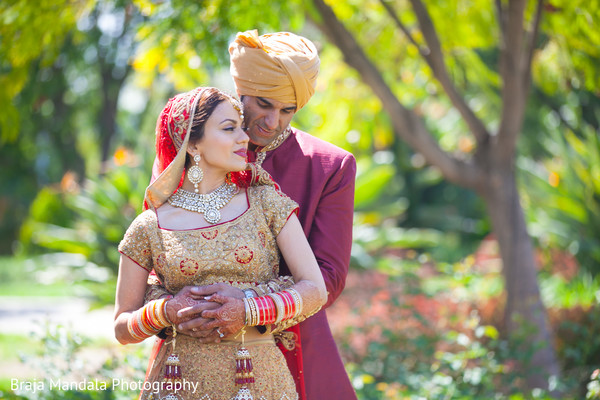 First look portraits in Westlake Village, CA Indian Wedding by Braja Mandala Photography