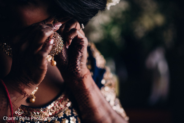 Indian wedding earrings in Morristown, New Jersey Indian Wedding by Charmi Peña Photography
