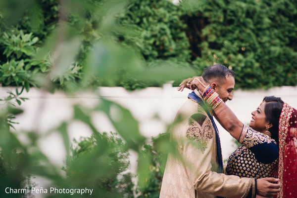 First look portraits in Morristown, New Jersey Indian Wedding by Charmi Peña Photography