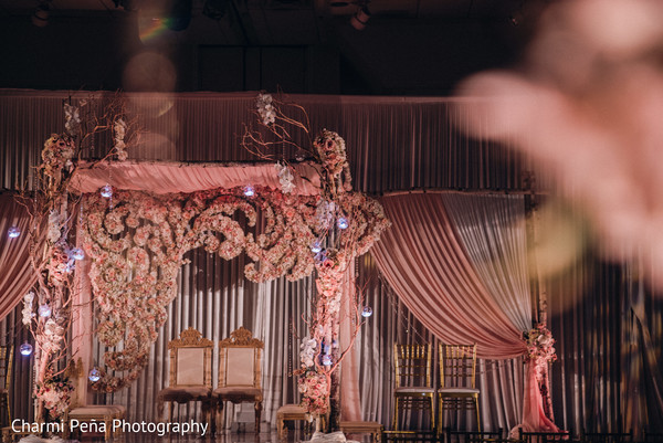 Indoor mandap in Morristown, New Jersey Indian Wedding by Charmi Peña Photography