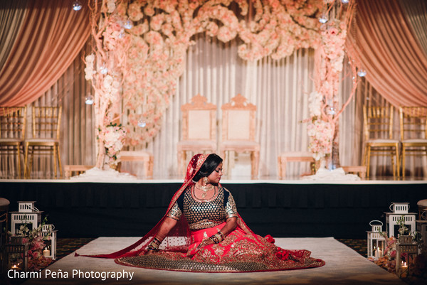 Indian bridal portrait in Morristown, New Jersey Indian Wedding by Charmi Peña Photography