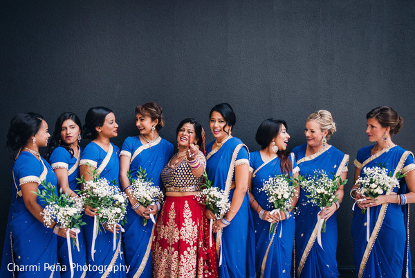 Blue bridesmaid sari in Morristown, New Jersey Indian Wedding by Charmi Peña Photography