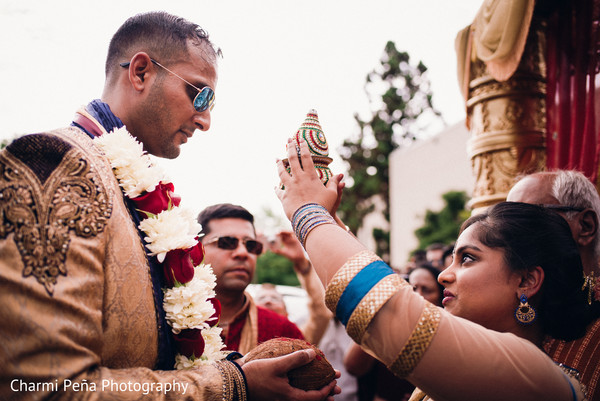 Groom's welcome in Morristown, New Jersey Indian Wedding by Charmi Peña Photography