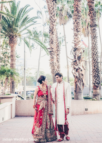 Bride and Groom Portrait in Long Beach, CA Indian Fusion Wedding by Indian Wedding Snap