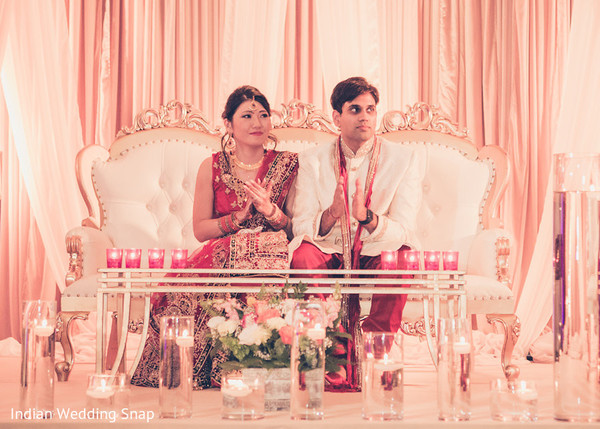 Bride and Groom Reception Portrait in Long Beach, CA Indian Fusion Wedding by Indian Wedding Snap