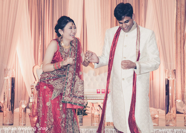 Bride and Groom Entrance in Long Beach, CA Indian Fusion Wedding by Indian Wedding Snap