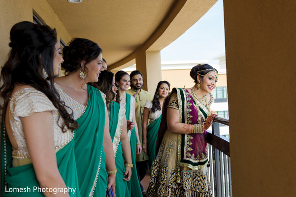 Bride with Bridal Party in Dallas, TX Indian Wedding by Lomesh Photography