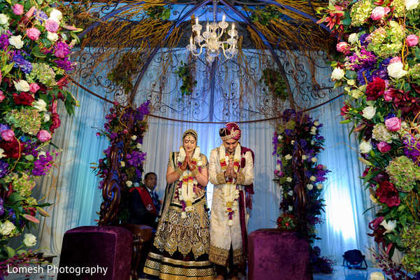 Bride and Groom at Indian Wedding Ceremony in Dallas, TX Indian Wedding by Lomesh Photography