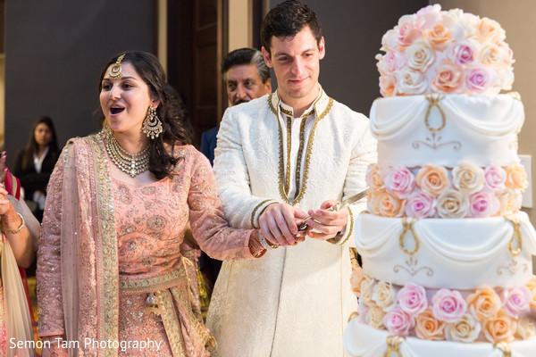 Wedding Reception Cake in San Antonio, TX Indian Fusion Wedding by Semon Tam Photography