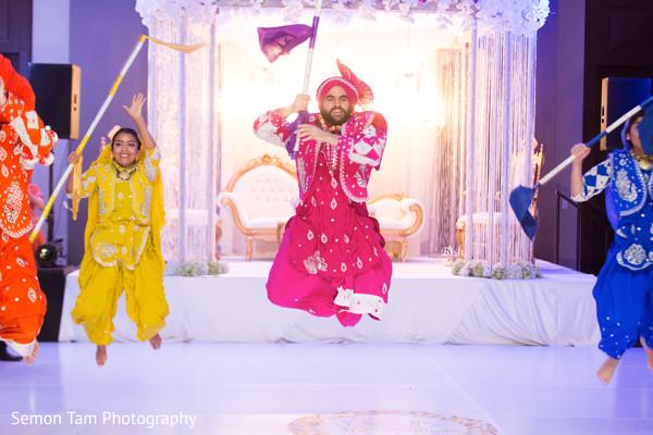 Bhangra Dancers in San Antonio, TX Indian Fusion Wedding by Semon Tam Photography