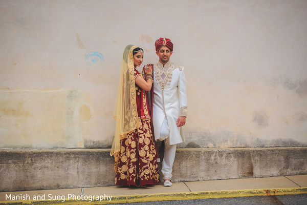 bride and groom portrait,wedding day portrait,red lengha,lengha ideas,wedding lengha,bridal lengha,lengha,indian wedding lengha,lehenga,wedding lehenga,bridal lehenga,bridal fashions