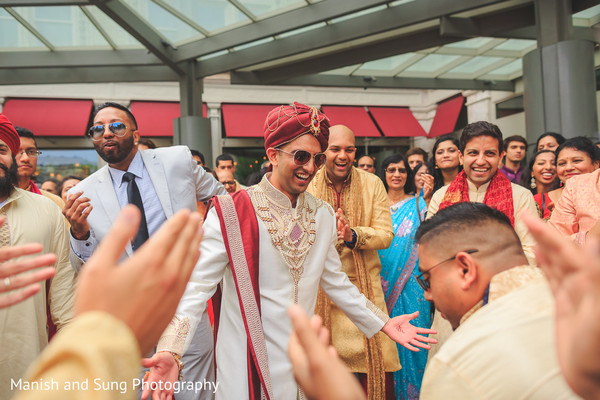Indian Groom at Baraat in Lancaster, PA Indian Wedding by Manish and Sung Photography