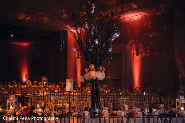 Centerpieces in Morristown, New Jersey Indian Wedding by Charmi Peña Photography