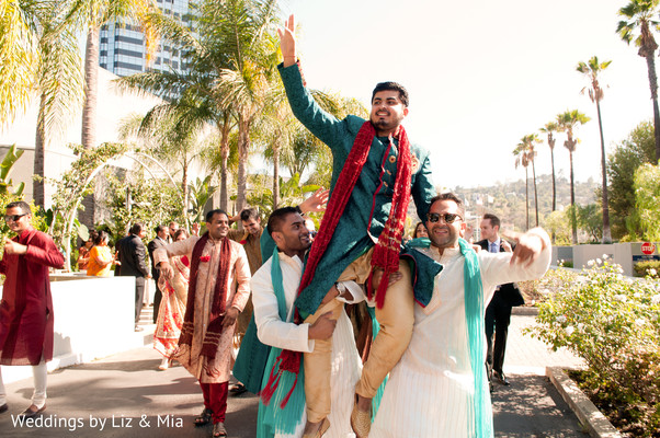 Groom and Groomsmen in Studio City, CA Indian Wedding by Weddings by Liz & Mia