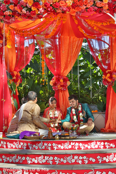 Bride and Groom Wedding Ceremony in Studio City, CA Indian Wedding by Weddings by Liz & Mia