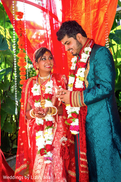 Bride and Groom Portrait in Studio City, CA Indian Wedding by Weddings by Liz & Mia
