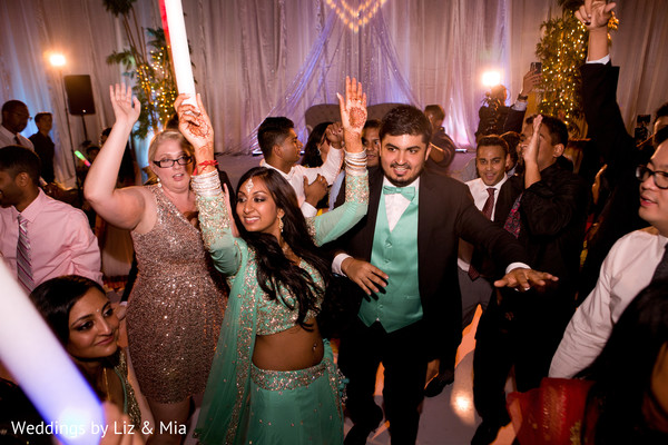 Bride and Groom Reception Portrait in Studio City, CA Indian Wedding by Weddings by Liz & Mia