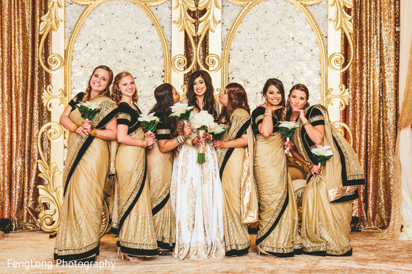 Bridesmaids saris in Atlanta, GA Indian Wedding by FengLong Photography