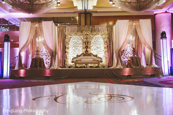 Reception stage in Atlanta, GA Indian Wedding by FengLong Photography