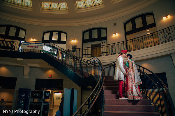 Bride and Groom Wedding Portrait in Worcester, Massachusetts Indian Wedding by NYNJ Photography
