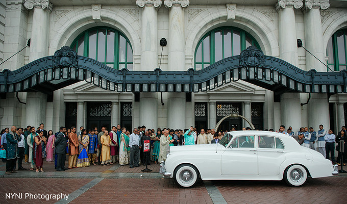 Antique Car at Wedding Reception Venue in Worcester, Massachusetts Indian Wedding by NYNJ Photography