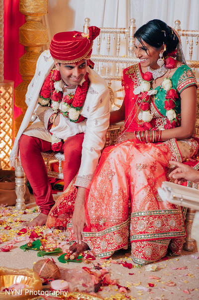Bride and Groom Portrait in Worcester, Massachusetts Indian Wedding by NYNJ Photography