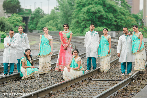 Wedding Party Portrait in Worcester, Massachusetts Indian Wedding by NYNJ Photography