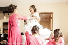 getting ready, Indian bride getting ready, white lengha