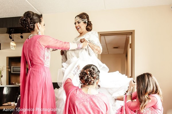 getting ready,indian bride getting ready,white lengha
