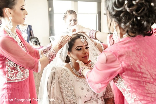 Indian Bride Getting Ready in Fairhaven, MA Fusion Wedding by Aaron Spagnolo Photography
