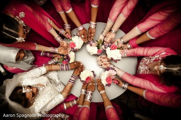 Bridesmaids Bouquets in Fairhaven, MA Fusion Wedding by Aaron Spagnolo Photography
