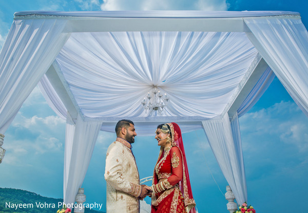 Outdoor mandap in Piermont, NY South Asian Wedding by Nayeem Vohra Photography
