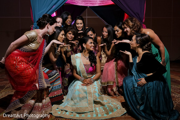 Beautiful Indian bride and her bridesmaids in Cancun, MX Indian Wedding by DreamArt Photography