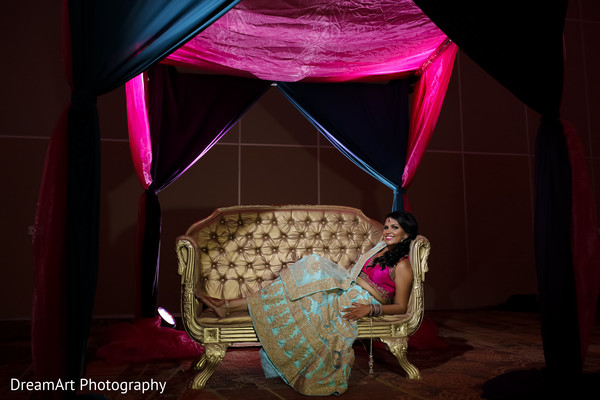 See the beautiful bride in her stunning teal sari in Cancun, MX Indian Wedding by DreamArt Photography