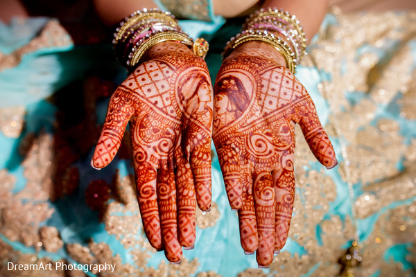 See this beautiful Mehndi design in Cancun, MX Indian Wedding by DreamArt Photography