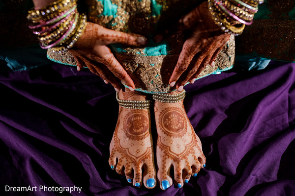 Beautiful mehndi designs in Cancun, MX Indian Wedding by DreamArt Photography