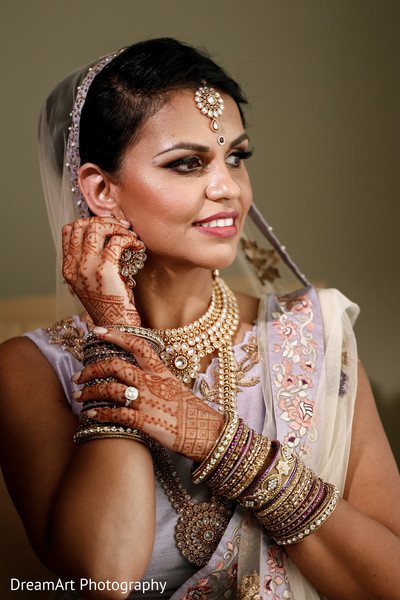 Indian bride wearing beautiful Jewelry in Cancun, MX Indian Wedding by DreamArt Photography
